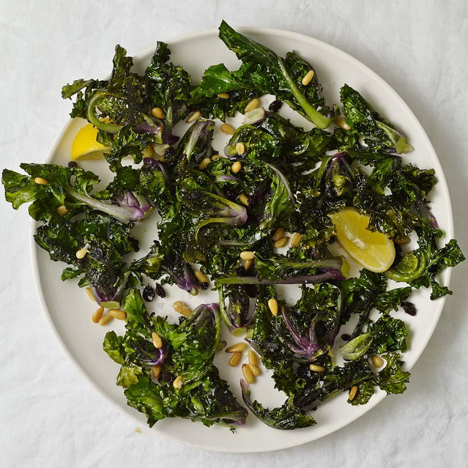 Roasted Kalettes with Pine Nuts & Currants