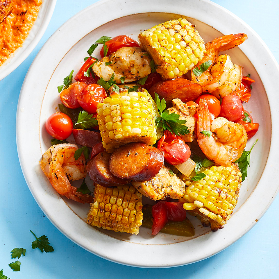 Sheet-Pan Creole Chicken & Shrimp