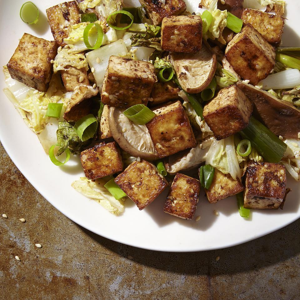 Baked Tofu Stir-Fry with Cabbage & Shiitakes