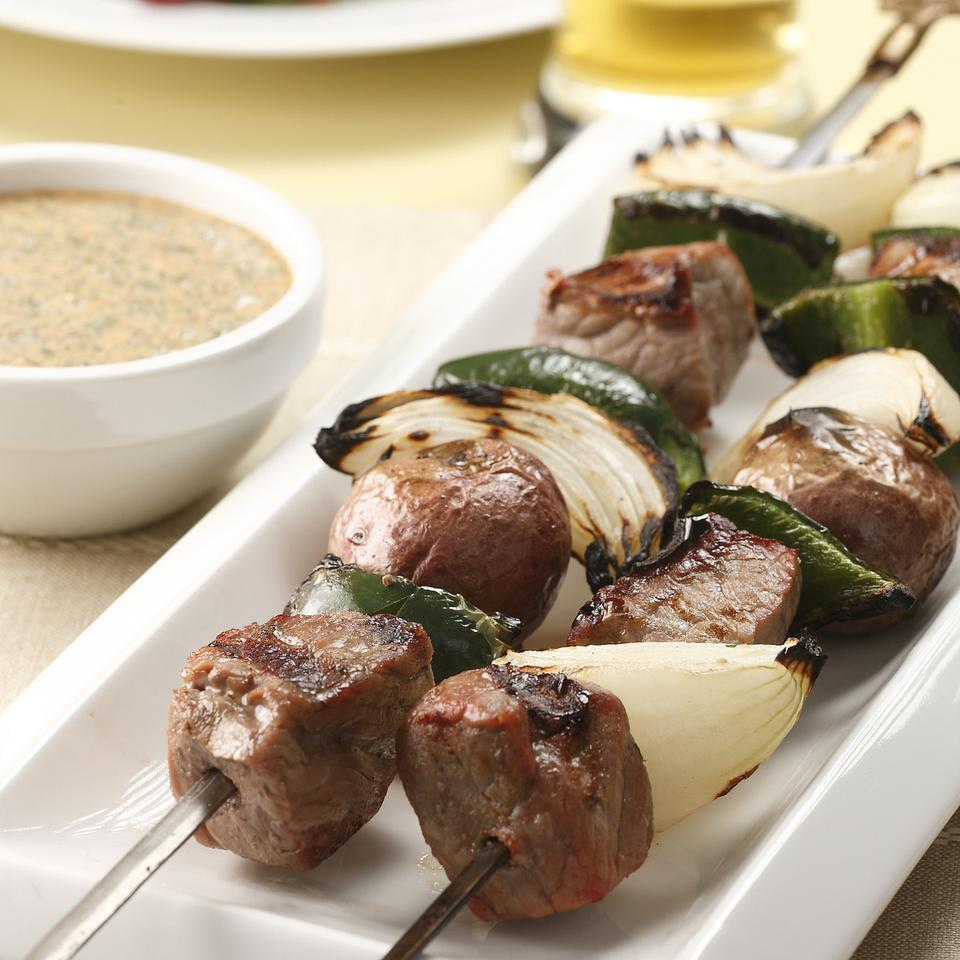 Steak & Potato Kebabs with Creamy Cilantro Sauce