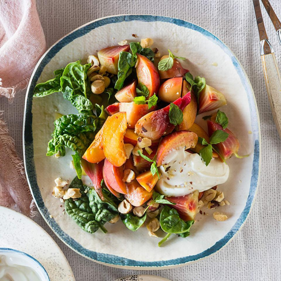Peach & Roasted Beet Salad with Hazelnut-Yogurt Dressing