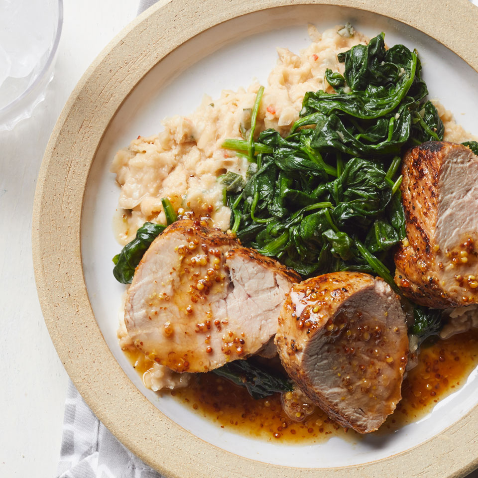 Honey-Mustard Pork with Spinach & Smashed White Beans