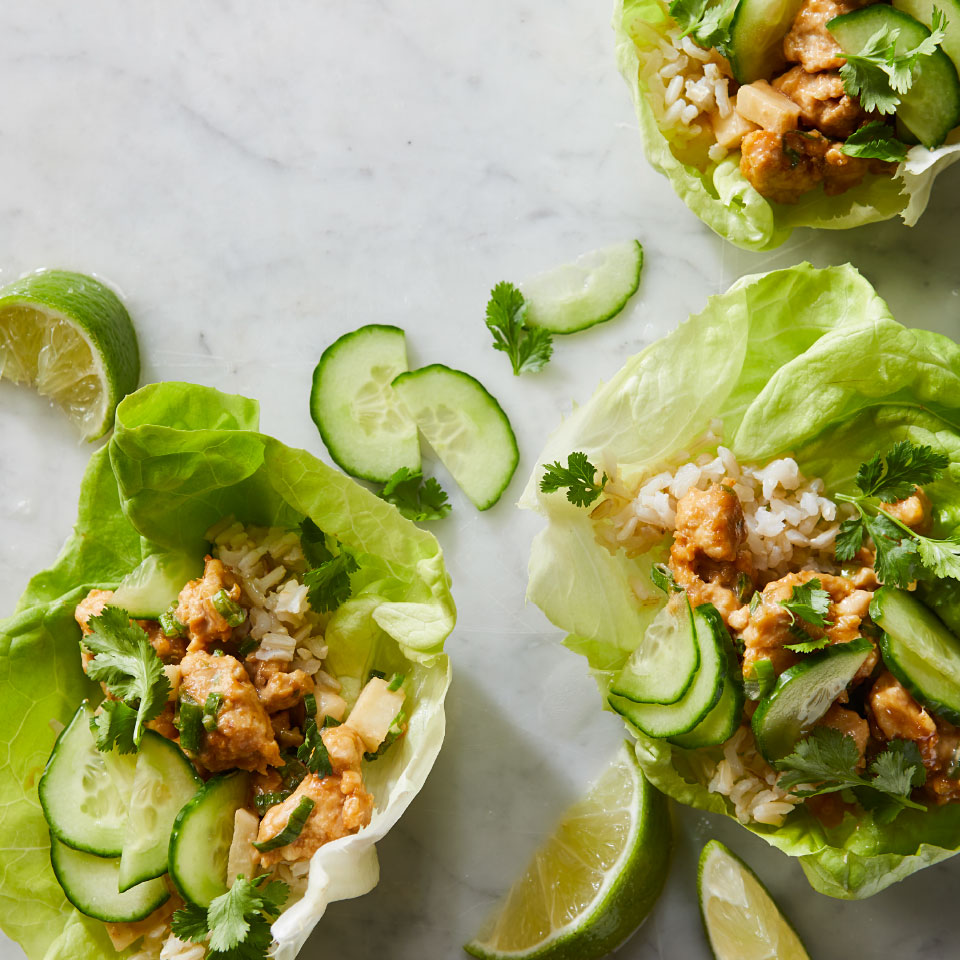 Chicken & Cucumber Lettuce Wraps with Peanut Sauce