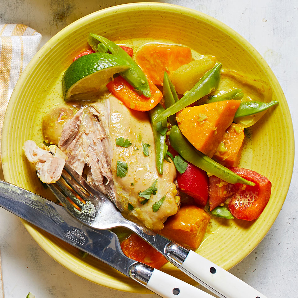 Curried Chicken with Sweet Potatoes & Snap Peas