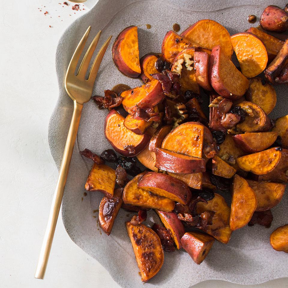 Pan-Roasted Sweet Potatoes with Dried Cherries & Pecans