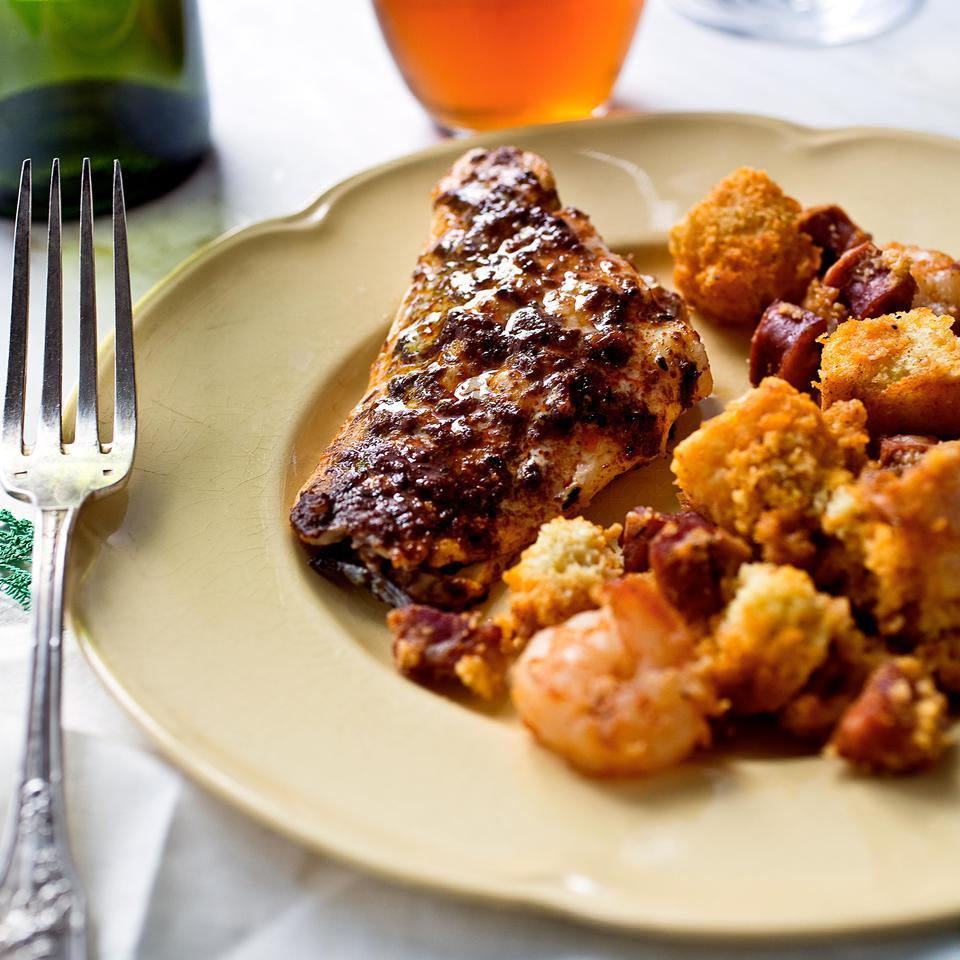 Grilled Redfish with Andouille & Shrimp Couche Couche
