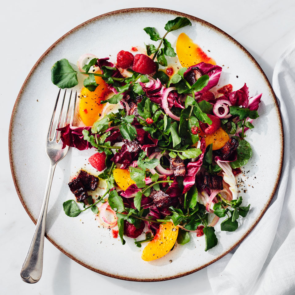 Peach, Raspberry & Watercress Salad with Five-Spice Bacon