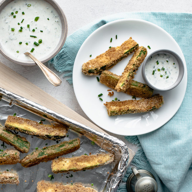 Oven-Fried Zucchini Fries with Herbed Buttermilk Dipping Sauce