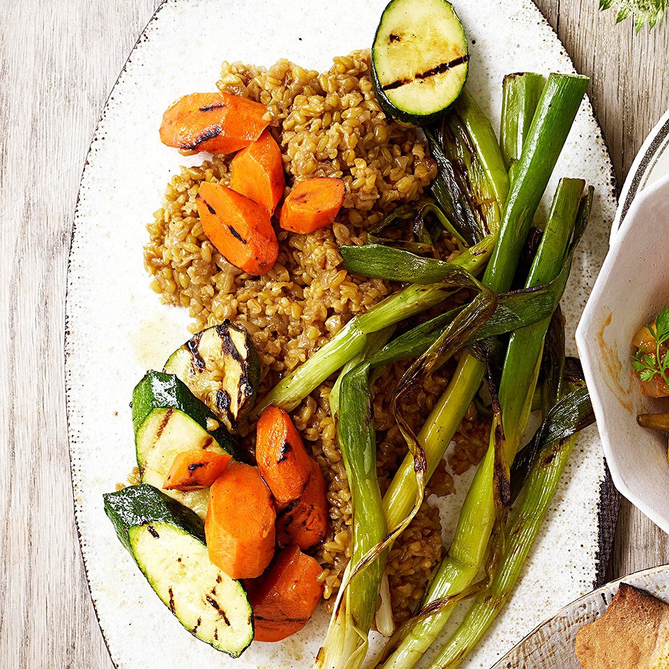 Freekeh with Grilled Vegetables (Frikeh bel Khodra)