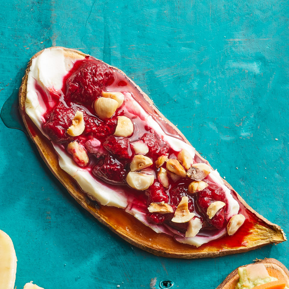 Raspberry & Cream Cheese Sweet Potato Toast