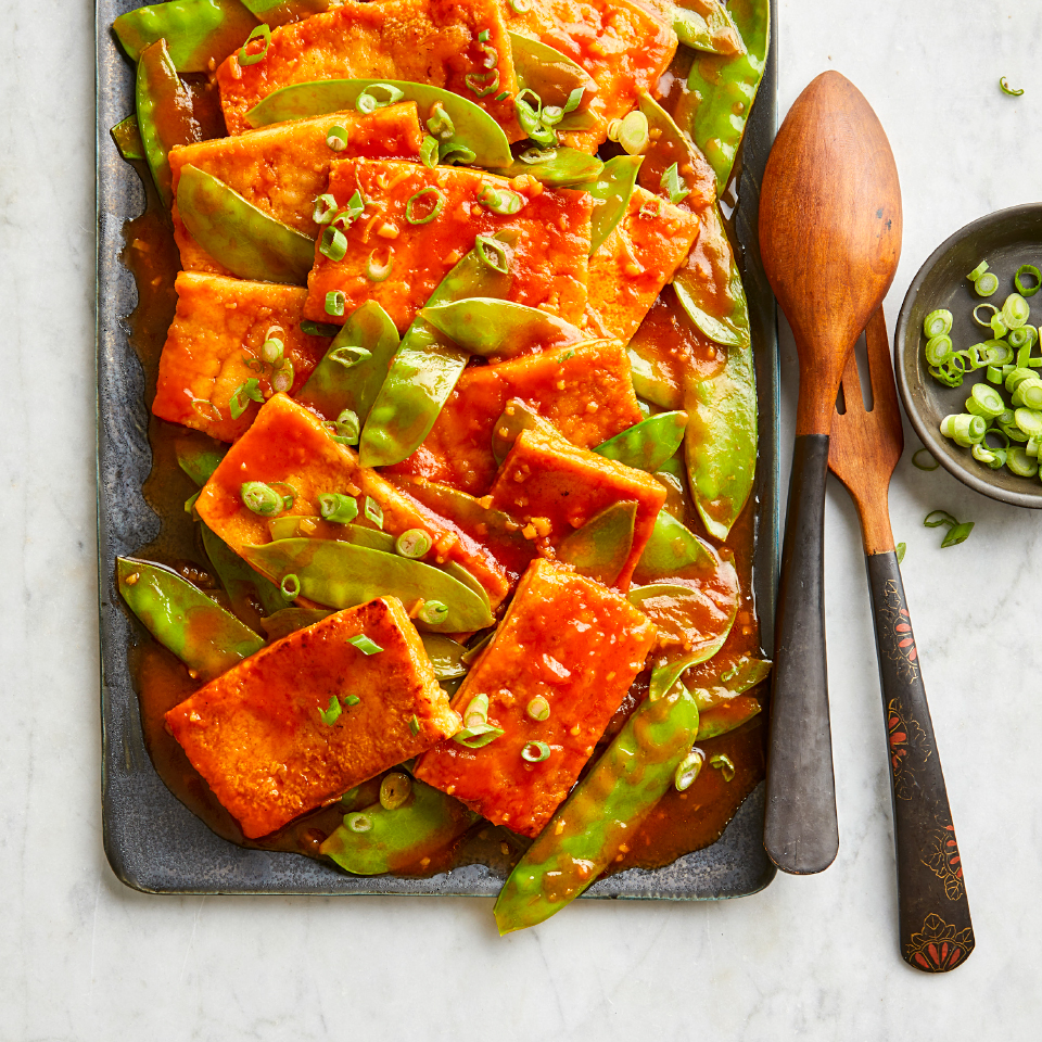 Chinese Sweet & Sour Tofu Stir-Fry with Snow Peas