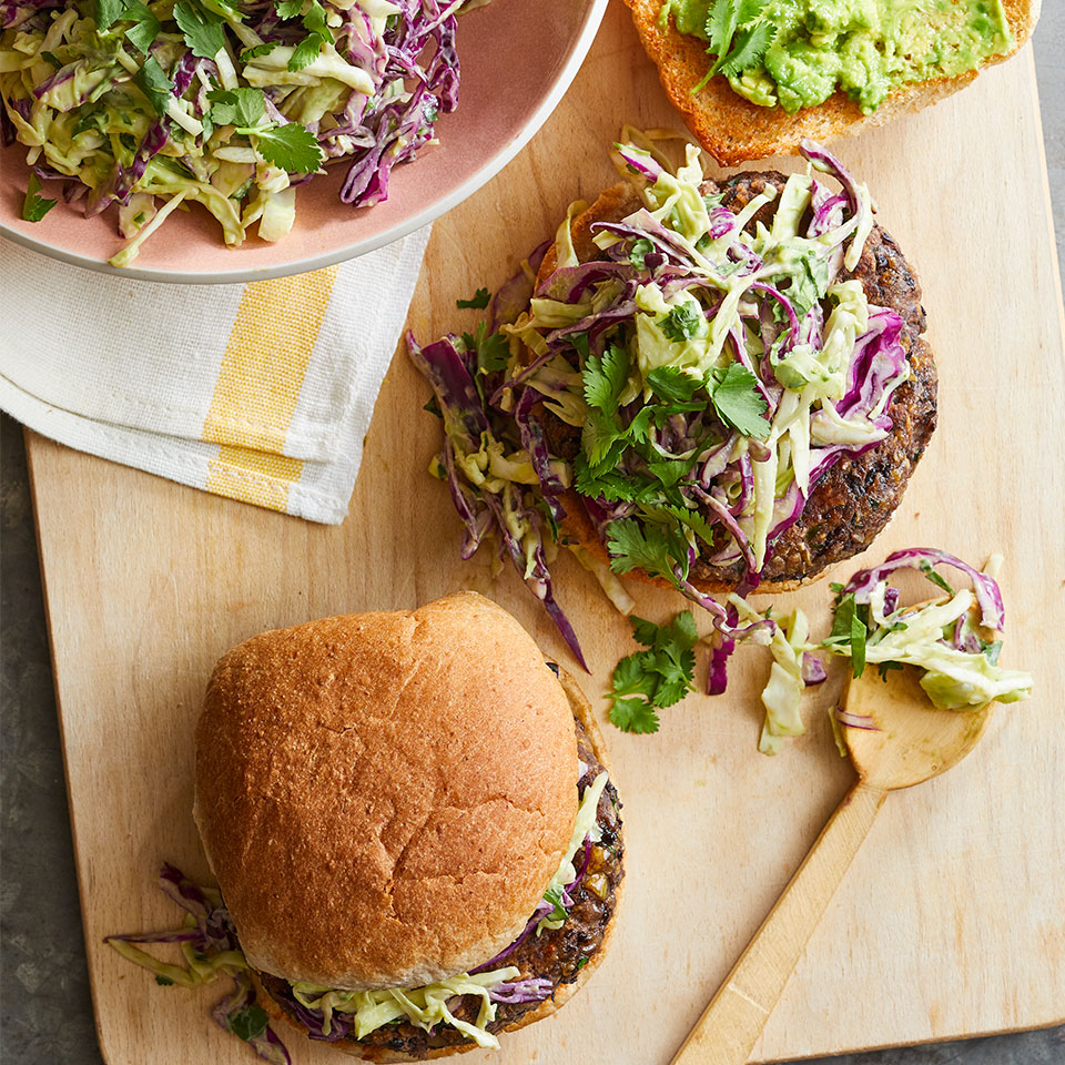 Cilantro Bean Burgers with Creamy Avocado-Lime Slaw
