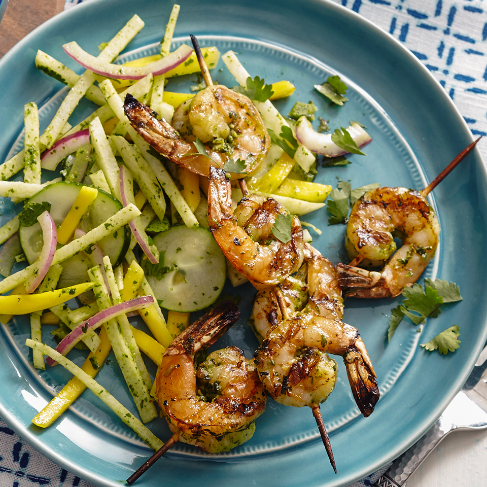Cilantro-Jalapeño Shrimp with Mango-Jicama Salad