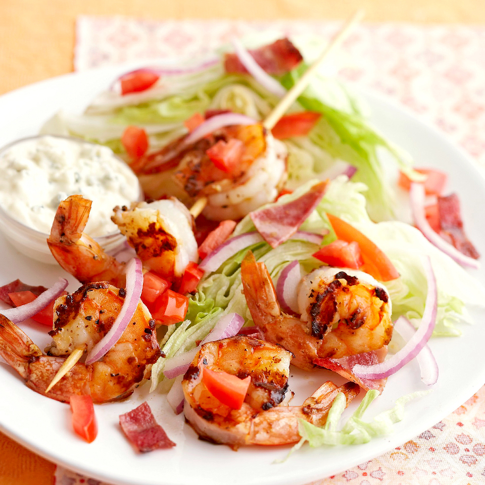 Iceberg Wedges with Shrimp and Blue Cheese Dressing