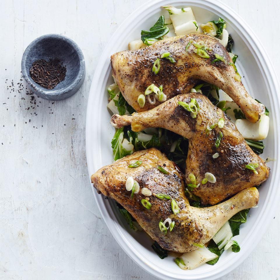 Lapsang Souchong Chicken with Bok Choy