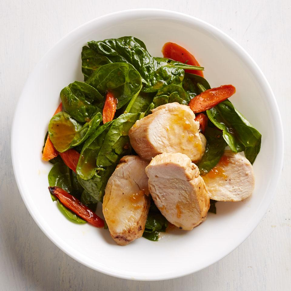 Apricot-Rosemary Chicken with Roasted Carrot Salad