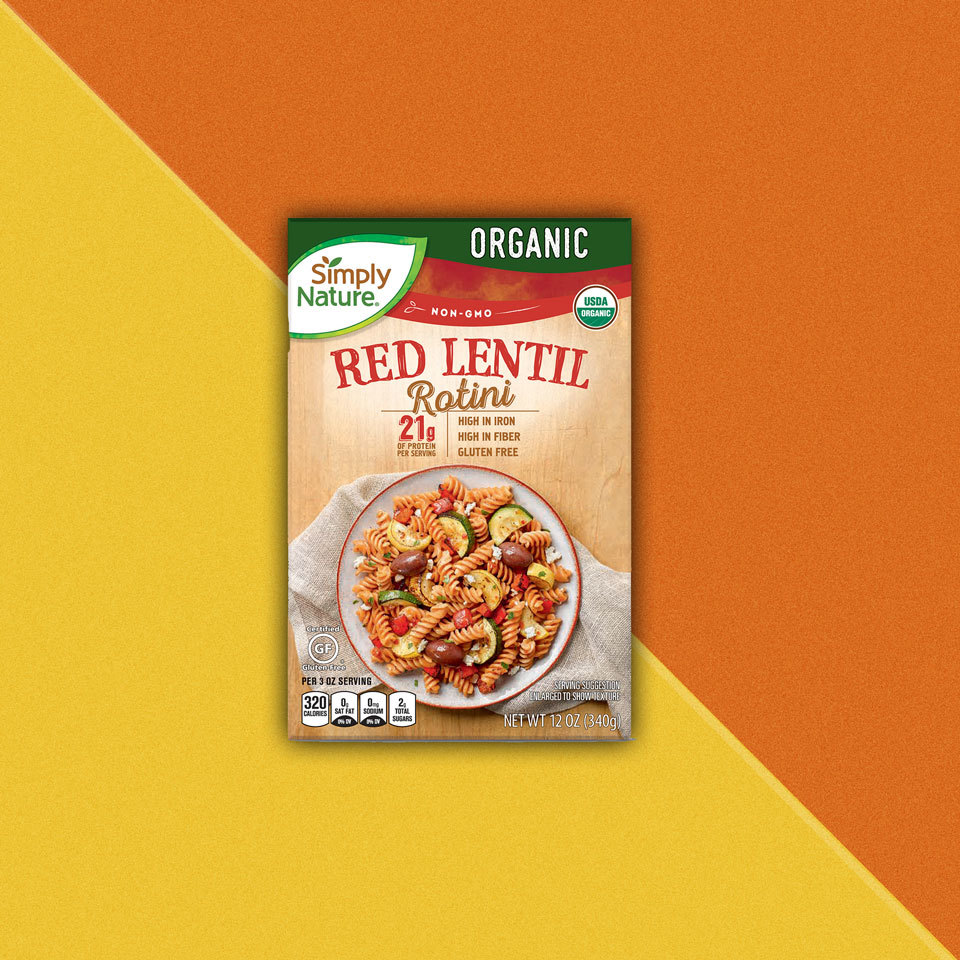 package of Simply Nature Red Lentil Rotini