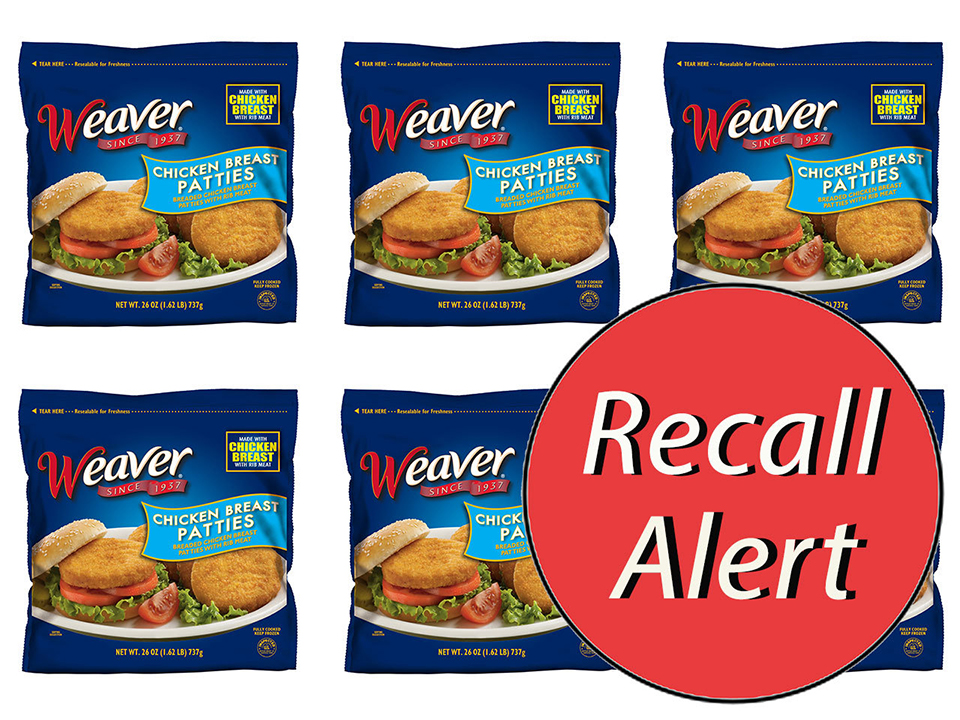 Packages of Weaver Chicken Breast Patties by Tyson with Recall sticker