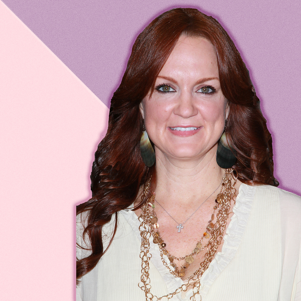 Ree Drummond against a pink and purple geometric background