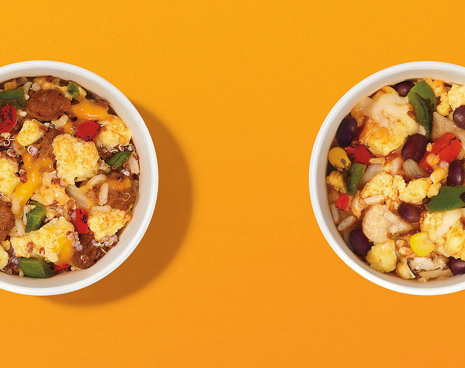 2 burrito bowls from above