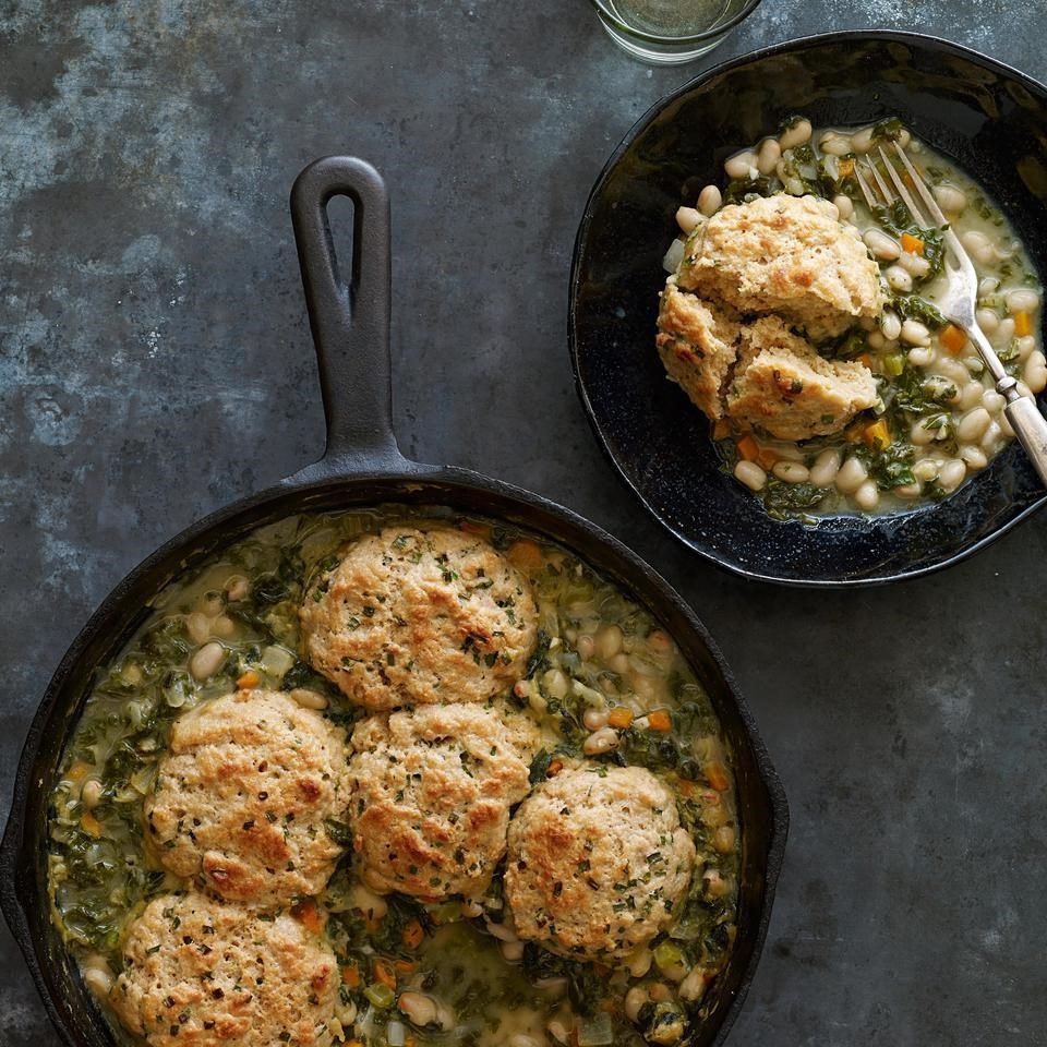 In this vegetarian white bean potpie recipe, kale and hearty white beans are topped with easy, homemade chive biscuits. If desired, add a little shredded Gruyère or Cheddar cheese to the biscuit dough.