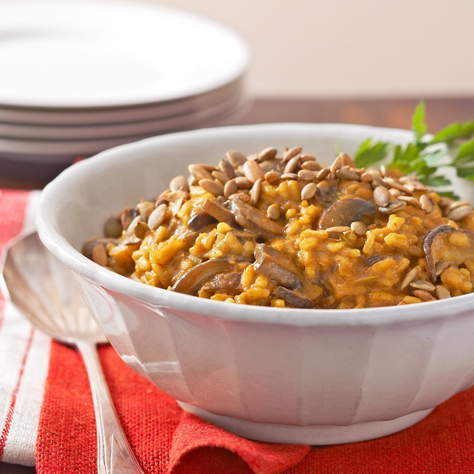 bowl of curried pumpkin and mushroom risotto