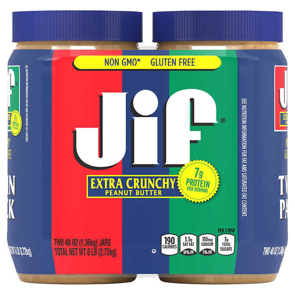 2 pack of large Jif Extra Crunchy Peanut Butter jars