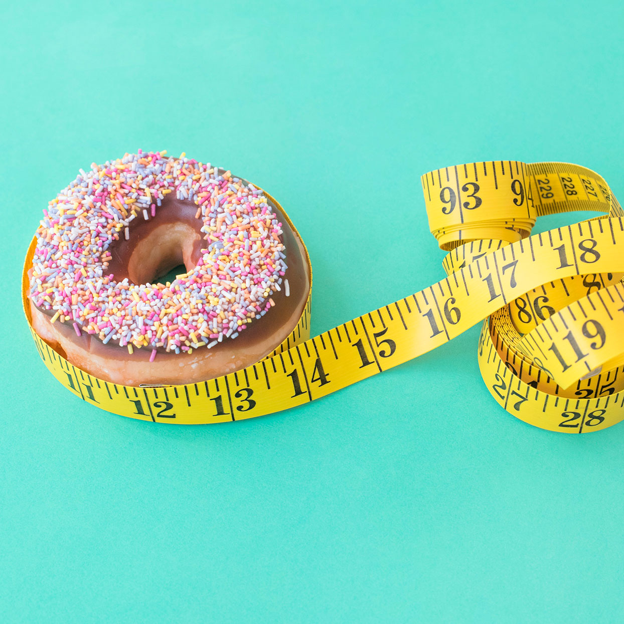 Donut with measuring tape