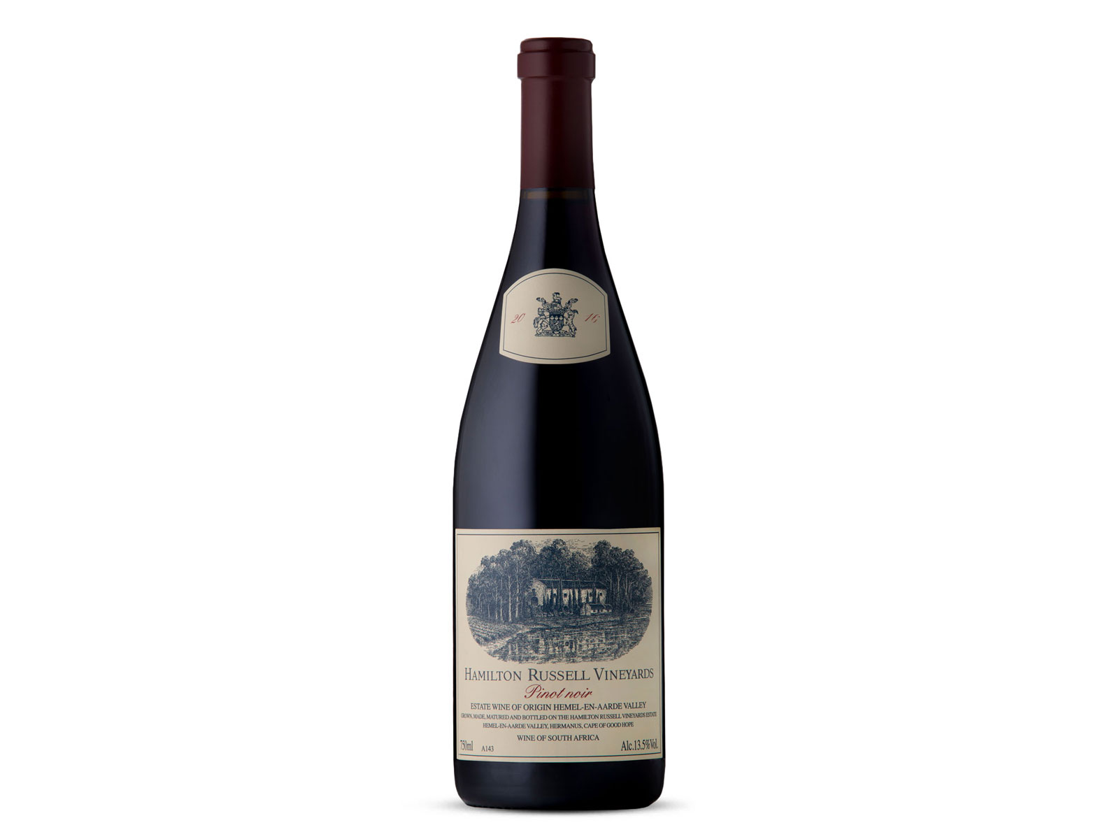 bottle of 2016 Hamilton Russell Vineyards Pinot Noir, Hemel-En-Aarde Valley, South Africa