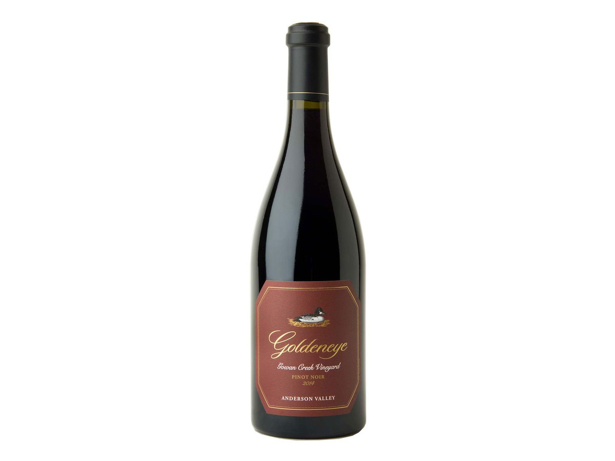 bottle of 2014 Goldeneye Pinot Noir Gowan Creek Vineyard Anderson Valley, CA