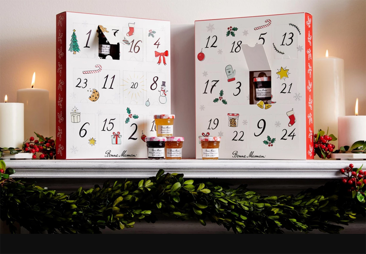 Bonne Maman advent calendar boxes with tiny jams and jellies on a mantle