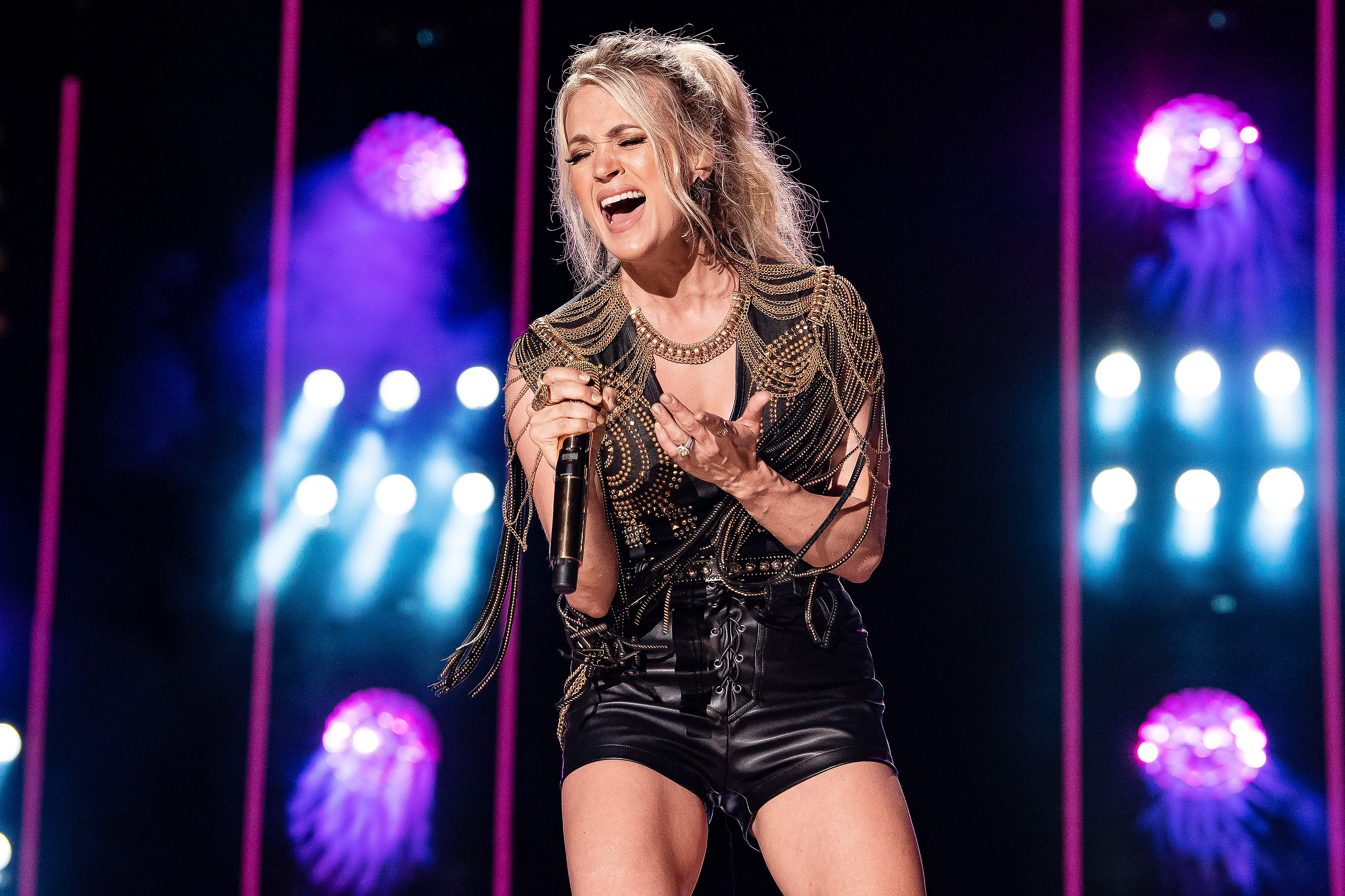 NASHVILLE, TENNESSEE - JUNE 07: -Carrie Underwood performs on stage during day 2 of 2019 CMA Music Festival on June 07, 2019 in Nashville, Tennessee.