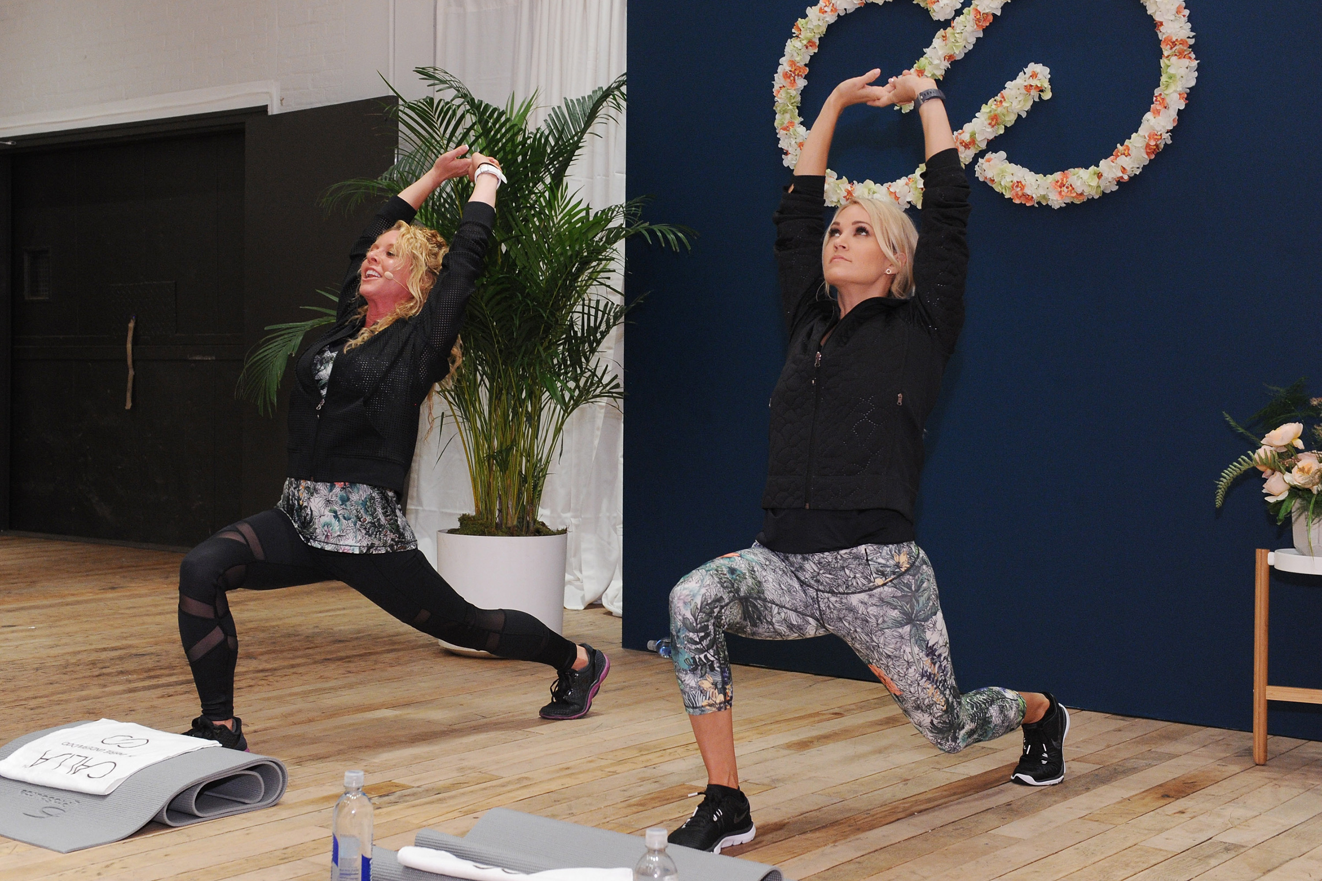 NEW YORK, NY - SEPTEMBER 11: CALIA lead designer, Carrie Underwood and her road trainer, Eve Overland lead a group workout to celebrate the line's Fall/Winter 17 collection at West Edge on September 11, 2017 in New York City. (Photo by Craig Barritt/Getty Images for Calia)