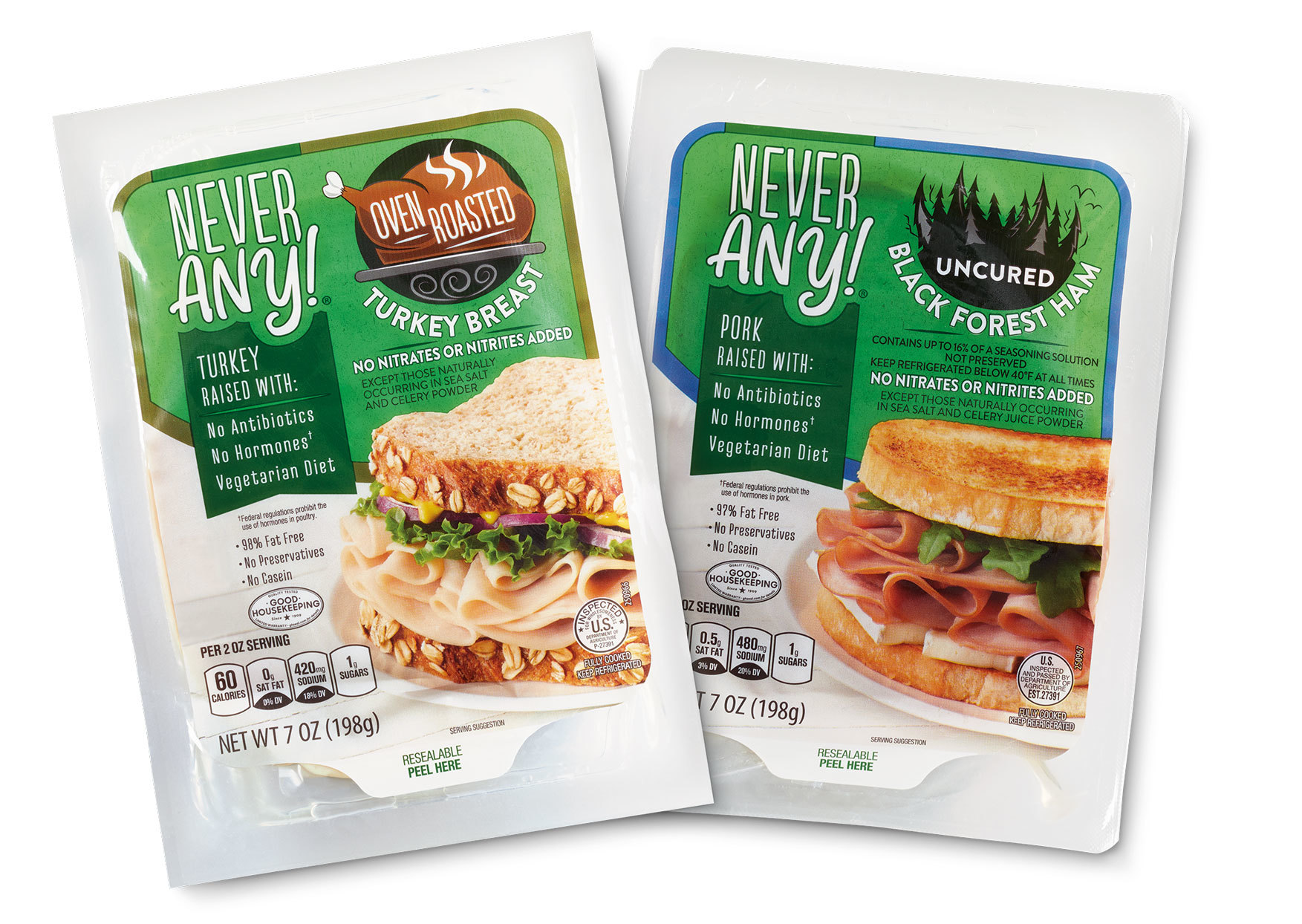Never Any! brand packaged oven roasted turkey breast and uncured black forest ham