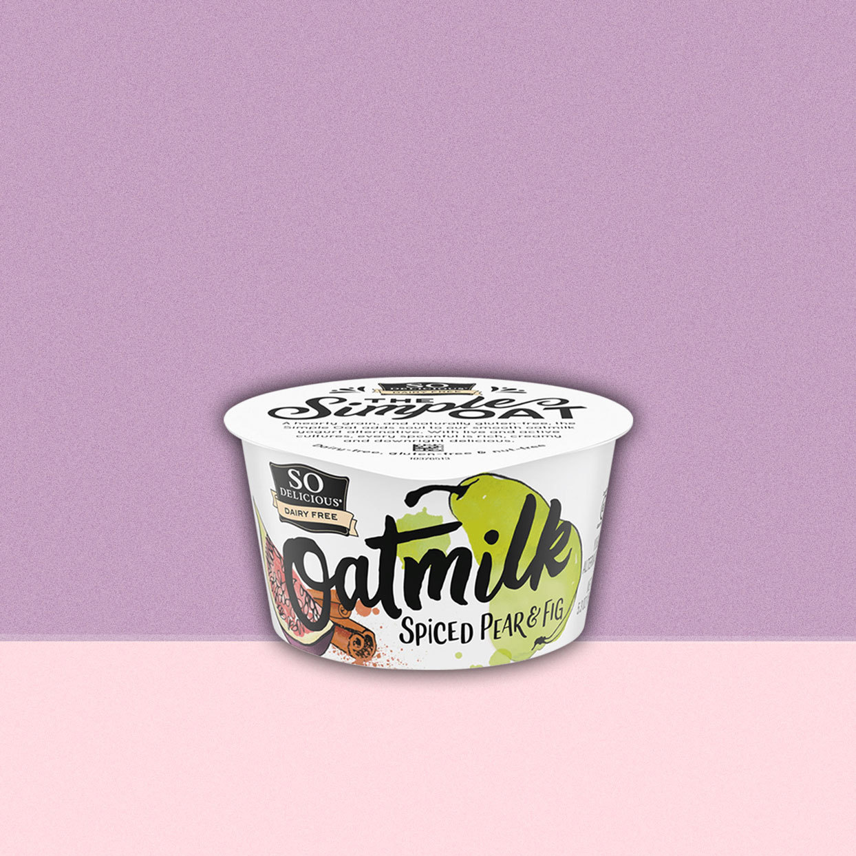 So Delicious brand Dairy Free Oatmilk yogurt, Spiced Pear & Fig flavor, in container