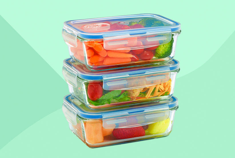 3 glass containers with fresh foods inside