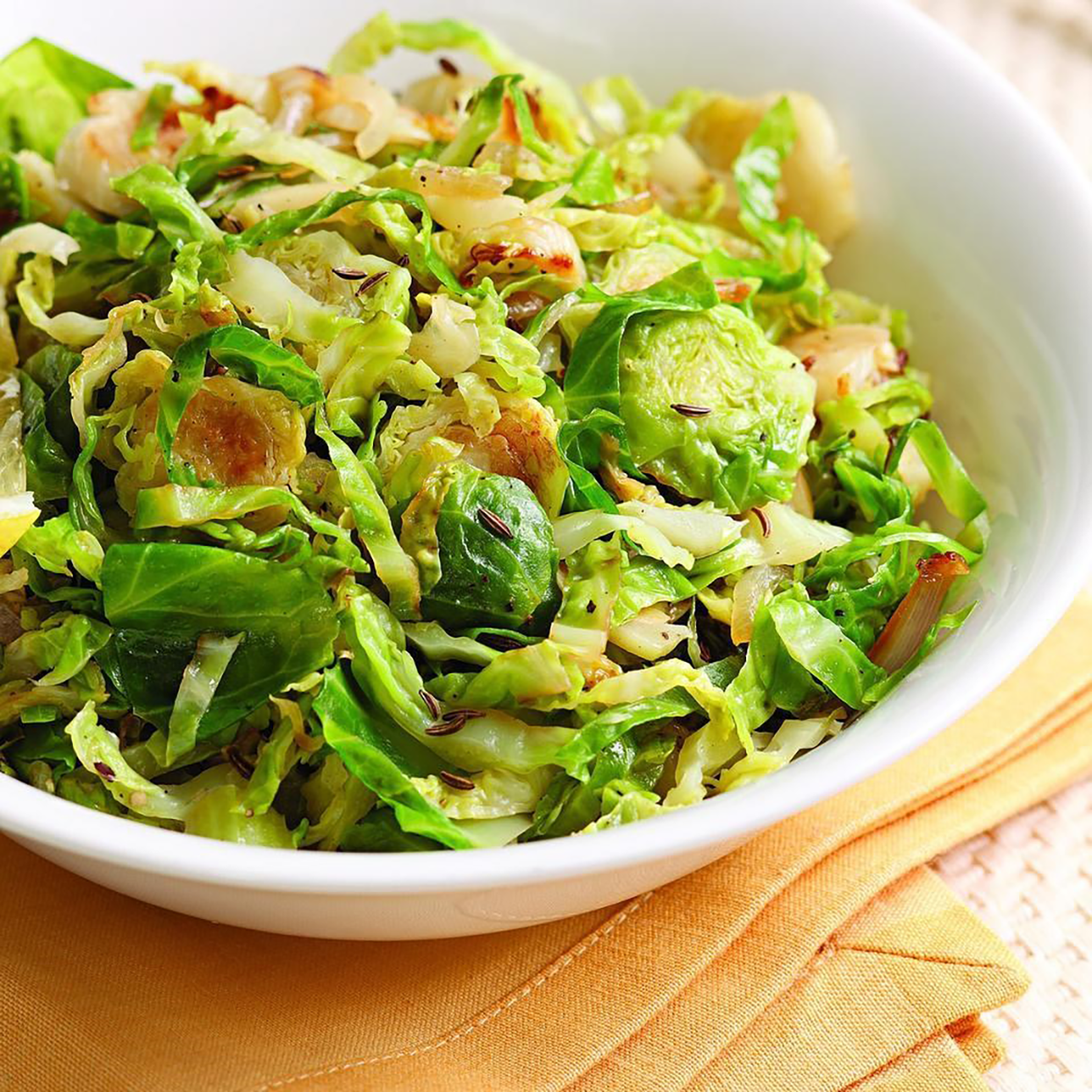 Sautéed Brussels Sprouts with Caraway and Lemon