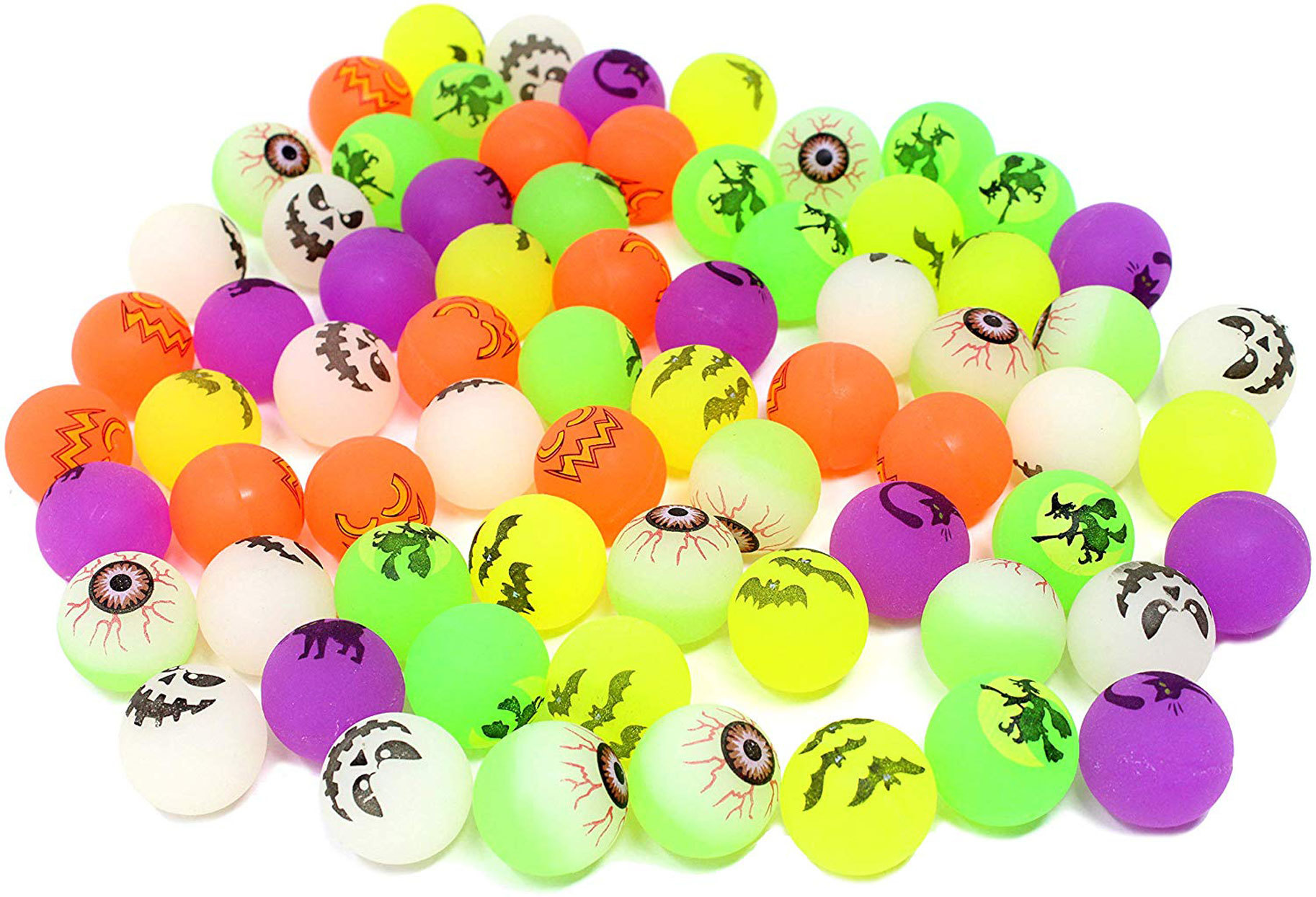bouncy balls of various colors and spooky designs