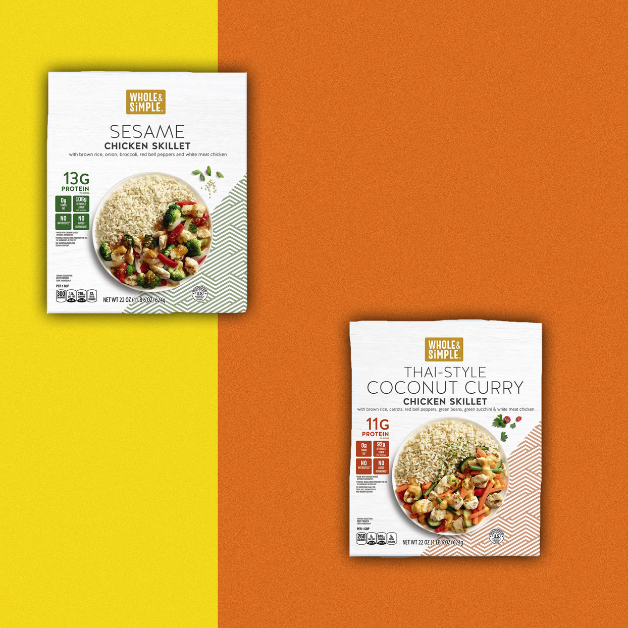 packaged Sesame Chicken Skillet and Thai-Style Coconut Curry Chicken Skillet