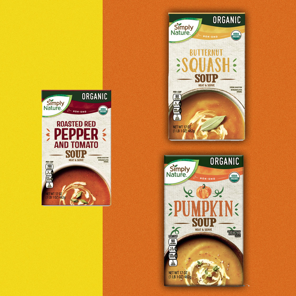 boxed soups - Roasted Red Pepper and Tomato, Butternut Squash, Pumpkin