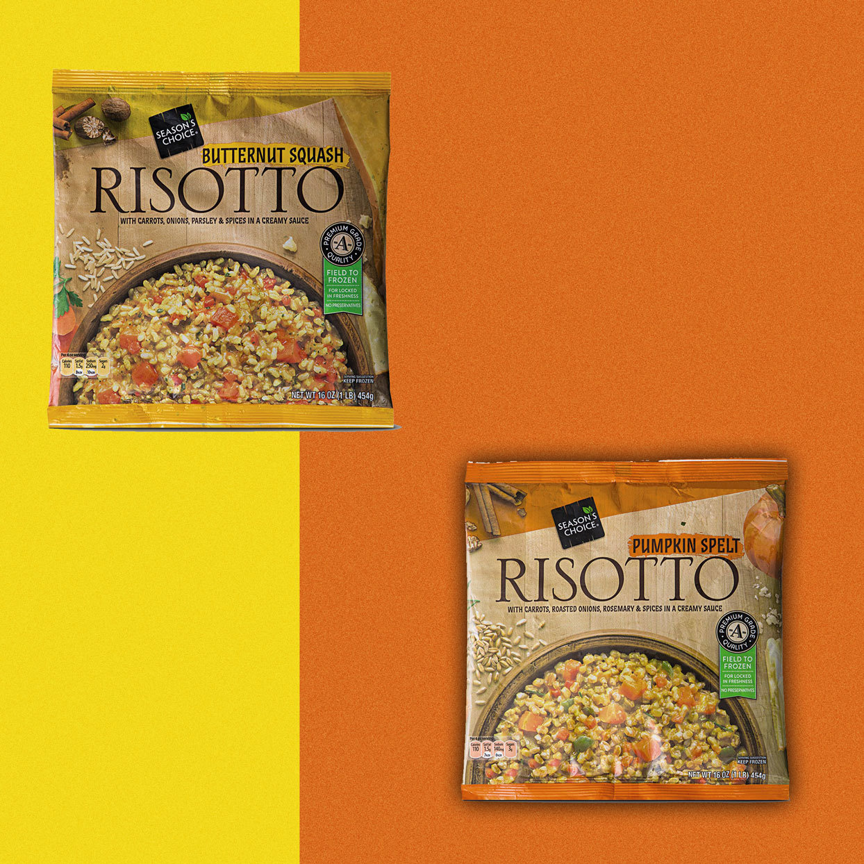 bag of Butternut Squash Risotto and Pumpkin Spelt Risotto