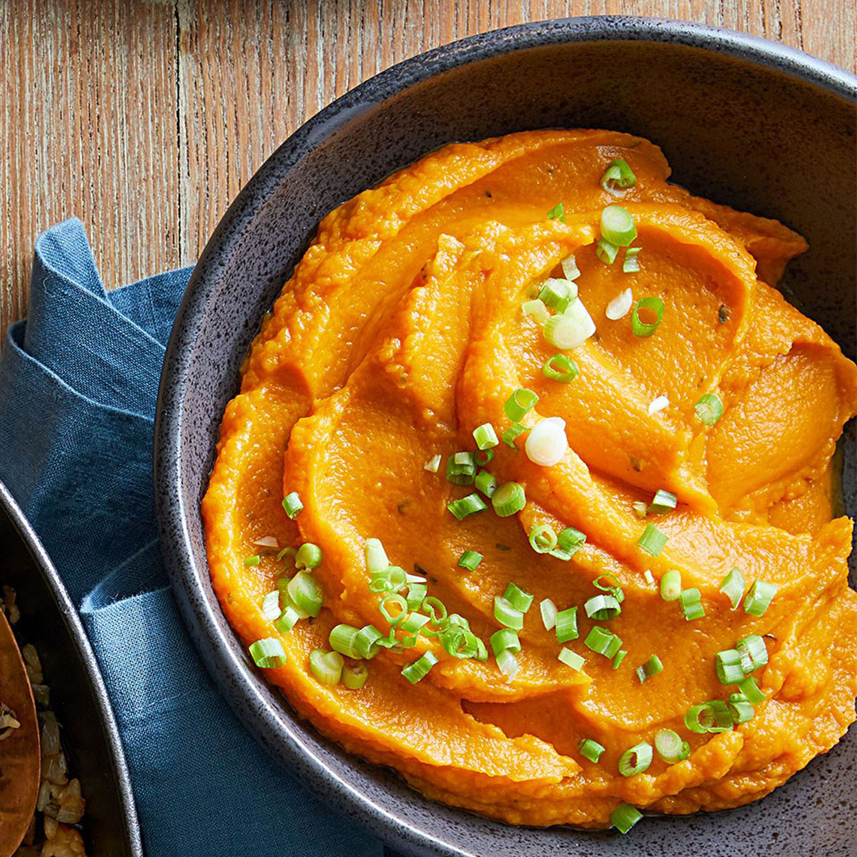 This colorful twist on traditional mashed potatoes swaps in sweet potatoes and incorporates the flavors of smoked paprika, cayenne, and orange zest. You can use regular paprika instead of smoked, and can omit the cayenne for a less spicy version.