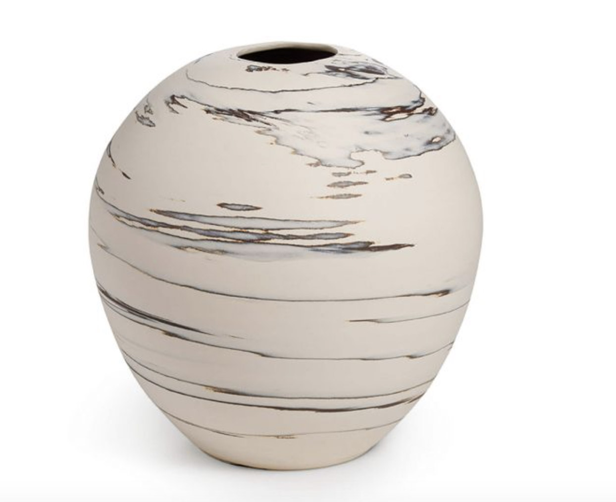 rounded vase with small opening, cream and gray