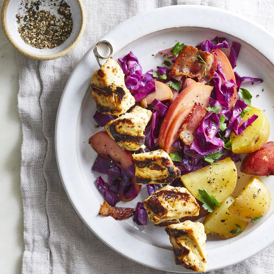 Chicken Kebabs with Warm Cabbage-Apple Slaw
