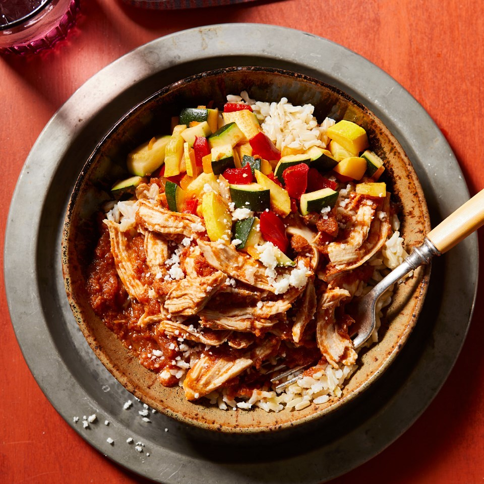 Chicken Tinga Bowls with Calabacitas & Brown Rice