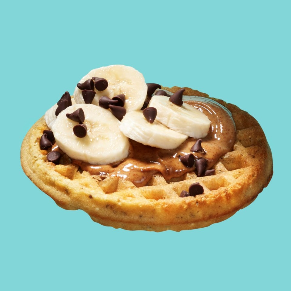 frozen waffle with peanut butter, bananas and chocolate chips