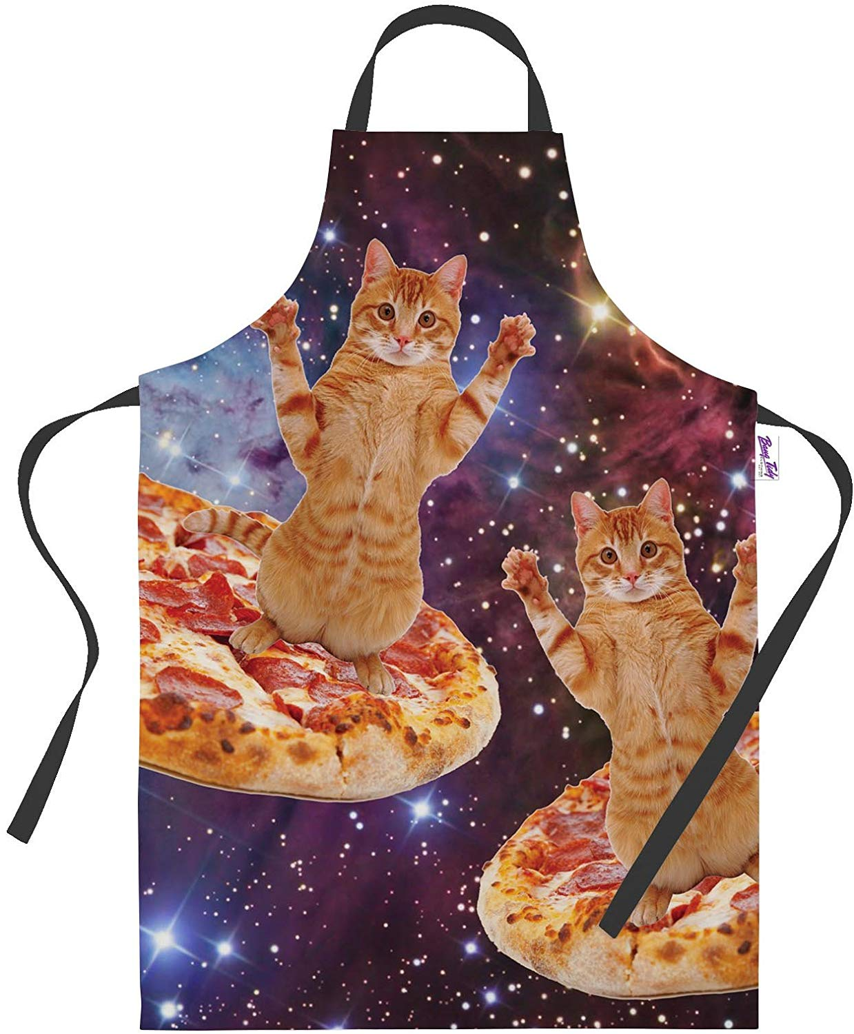 cat on pizza in space apron