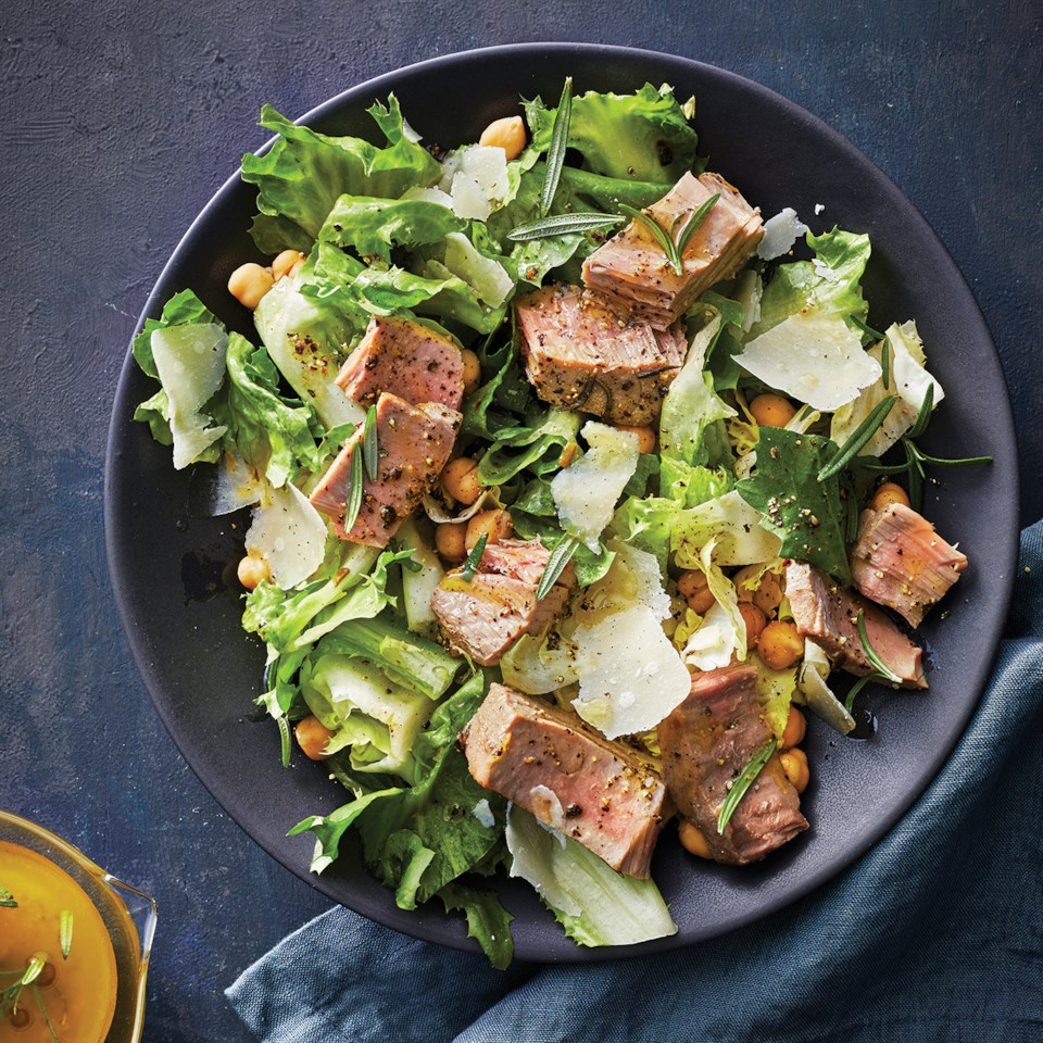 Slow-Cooker Tuna Steaks with Escarole-Chickpea Salad