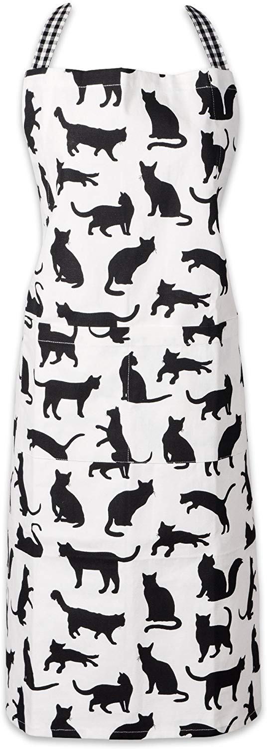 apron with cat silhouettes printed on it