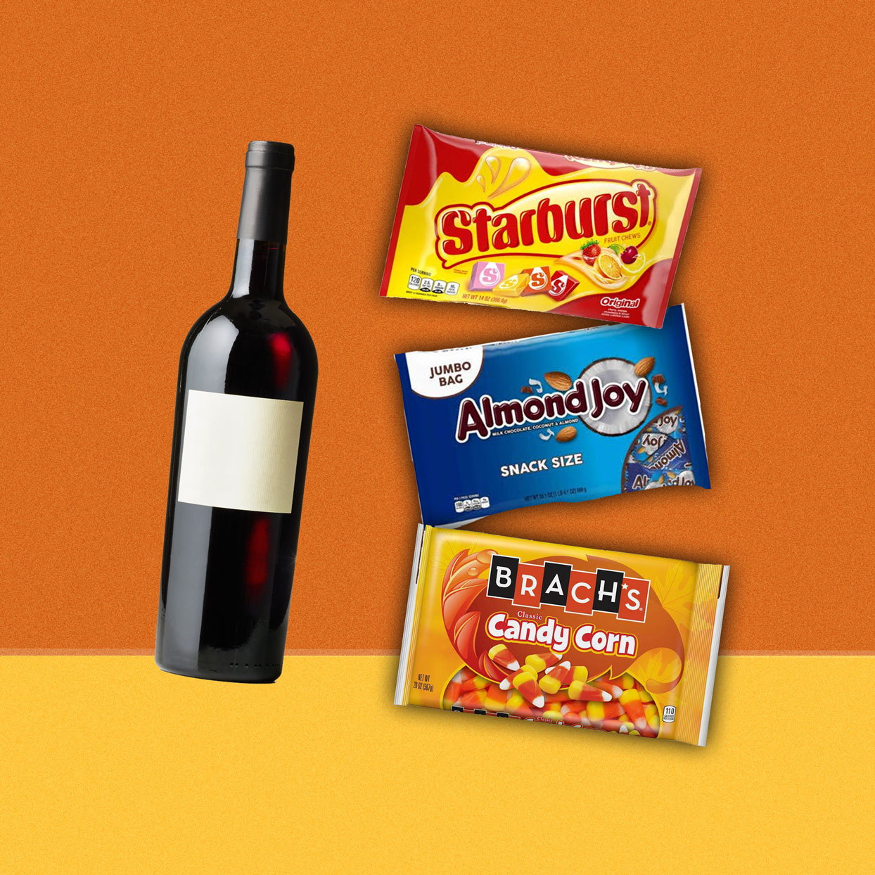 bottle of wine next to box of Starburst, Almond Joy, and Candy Corn